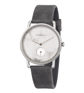 Watches Kerbholz Frida White Marble Silver Asphalt