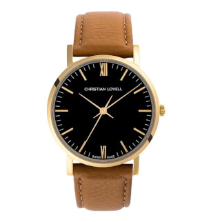 Watches Christian Lovell Premiere Gold Black Light Brown