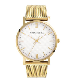 Watches Christian Lovell Premiere Gold Structure White Mesh Gold
