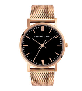 Watches Christian Lovell Premiere Rose Gold Black Mesh Rose Gold