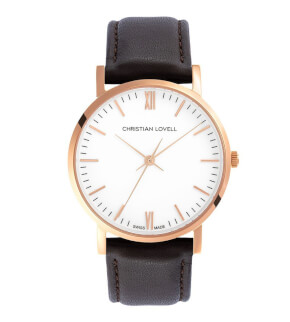 Watches Christian Lovell Premiere Rose Gold White Dark Brown