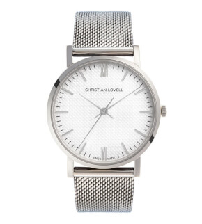 Watches Christian Lovell Premiere Silver Structure White Mesh Silver
