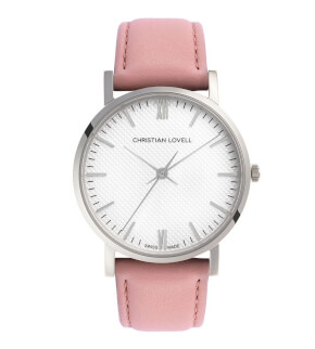 Watches Christian Lovell Premiere Silver Structure White Pink Strap
