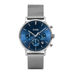 Watches Cluse Aravis Chrono Mesh Blue, Silver Colour