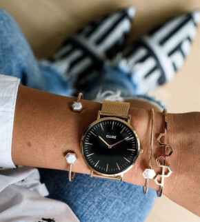 Watches Cluse La Bohème Mesh Rose Gold/Black