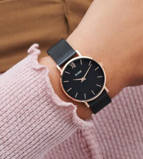 Watches Cluse Minuit Mesh Black, Rose Gold Colour