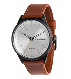 Watches Quiksilver Bienville Leather Black Silver Brown XKSC