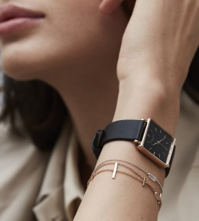 Watches Rosefield The Boxy Black Black Rosegold
