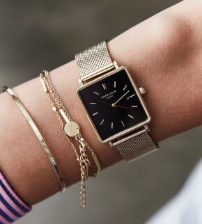 Watches Rosefield The Boxy Black Mesh Gold