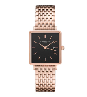 Watches Rosefield The Boxy Black Steel Rosegold