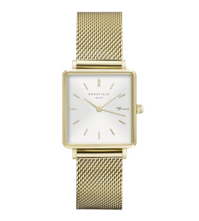 Watches Rosefield The Boxy White Sunray Mesh Gold