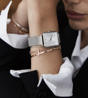 Watches Rosefield The Boxy White Sunray Mesh Silver