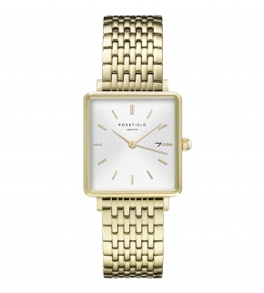 Watches Rosefield The Boxy White Sunray Steel Gold