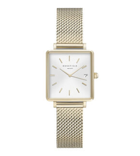Watches Rosefield The Boxy XS White Sunray Mesh Gold