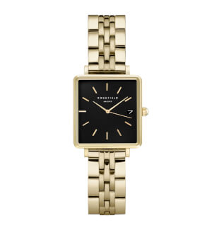 Watches Rosefield The Mini Boxy Black Steel Gold