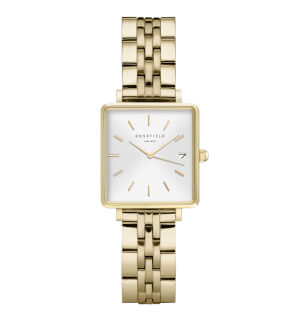 Watches Rosefield The Mini Boxy White Sunray Steel Gold