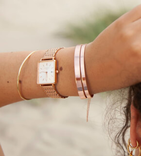 Watches Rosefield The Mini Boxy White Sunray Steel Rosegold