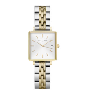 Watches Rosefield The Mini Boxy White Sunray Steel Silver Gold Duo
