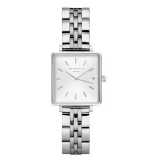 Watches Rosefield The Mini Boxy White Sunray Steel Silver