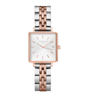 Watches Rosefield The Mini Boxy White Sunray Steel Silver Rosegold Duo