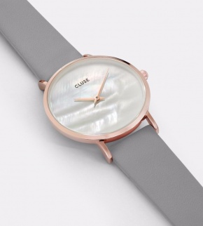 Watches Cluse Minuit La Perle Rose Gold White Pearl/Stone Grey