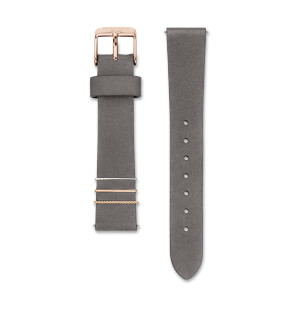 Straps Rosefield West Village Leather Elephant Grey / Rosegold / 16 mm