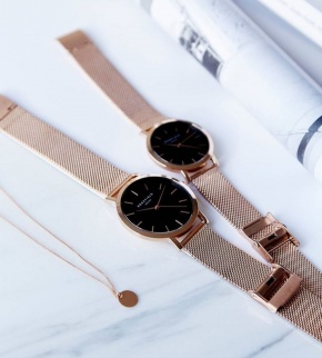 Watches Rosefield The Mercer Rose Gold Black