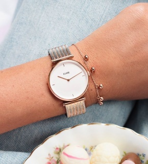 Watches Cluse Triomphe Rose Gold Bicolour Mesh