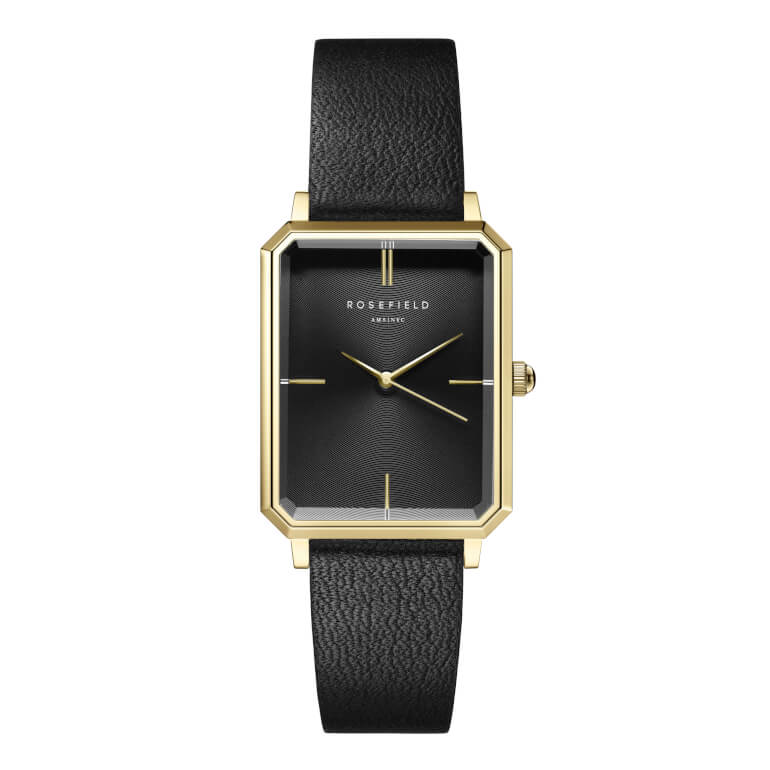 The Elles Black Sunray Black Leather Gold