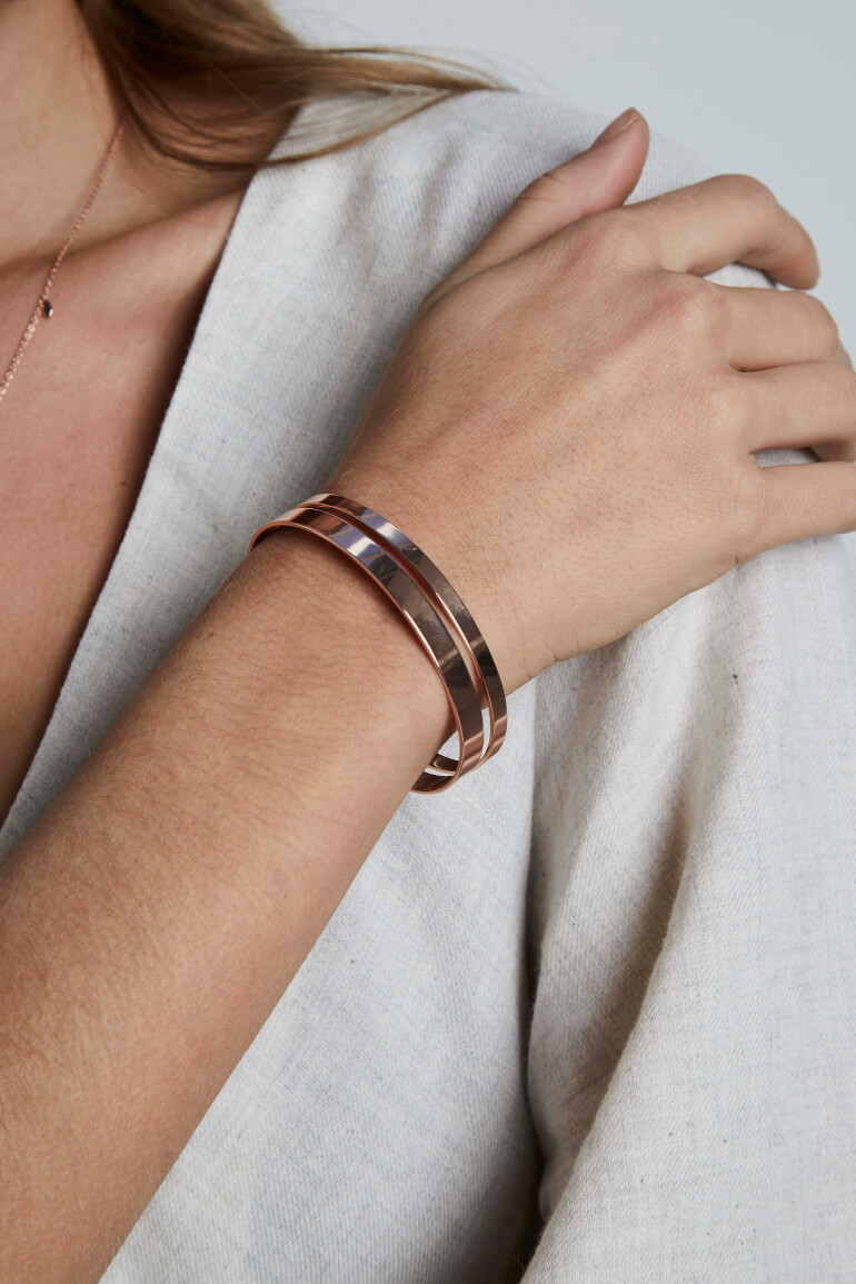 bracelet Iggy Double Bar Bangle Rose Gold