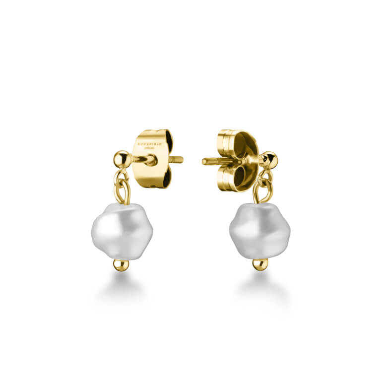 earrings TOC Stud with tiny pearl Gold